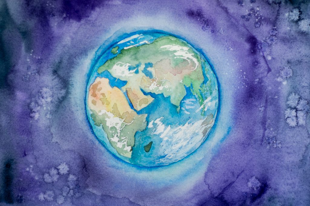 a watercolor illustration of the earth, from space
